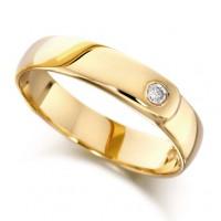 18ct Yellow Gold Ladies 4mm Wedding Ring Set with Single 4pt Diamond