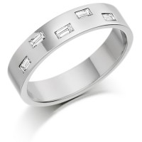 Platinum Ladies 4mm Wedding Ring Set with 5 Baguette Diamonds, Total Weight 20pts