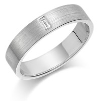 Platinum Ladies 4mm Wedding Ring Set with Single Baguette Diamond Weighing 5pts
