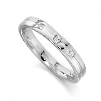 9ct White Gold Ladies 3mm Wedding Ring with Centre Groove and Set with 3 Princess Cut Diamonds, Total Weight 7pts