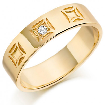9ct Yellow Gold Gents 6mm Wedding Ring with 4pt Diamond Set in Square Box Pattern