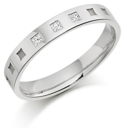 9ct White Gold Ladies 3mm Wedding Ring with Frosted Squares all Around and Set with 6pts of Princess Cut Diamonds