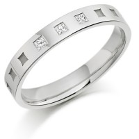 Platinum Ladies 3mm Wedding Ring with Frosted Squares all Around and Set with 6pts of Princess Cut Diamonds