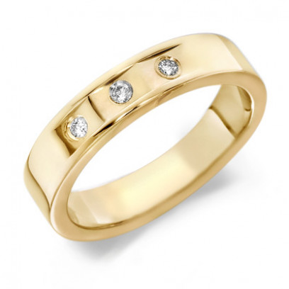 9ct Yellow Gold Gents 5mm Wedding Ring with 3 Flat Cuts and a Diamond Set in Each, Total Weight 9pts