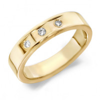 18ct Yellow Gold Gents 5mm Wedding Ring with 3 Flat Cuts and a Diamond Set in Each, Total Weight 9pts