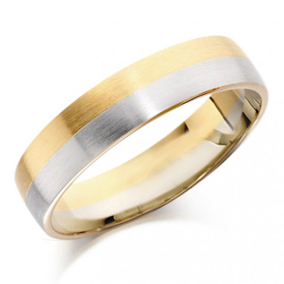 18ct Yellow and White Gold Gents 5mm Plain Wedding Ring with Satin Finish