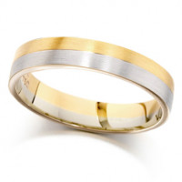 9ct Yellow and White Gold Ladies 4mm Plain Wedding Ring with Satin Finish