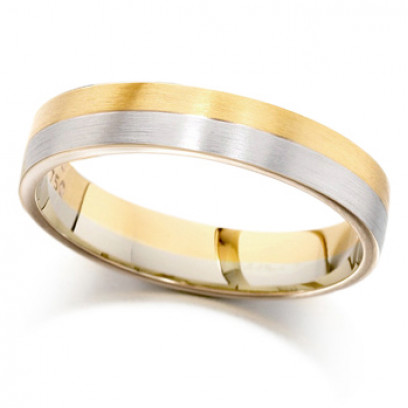 18ct Yellow and White Gold Ladies 4mm Plain Wedding Ring with Satin Finish