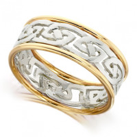 9ct Yellow and White Gold Gents 8mm Ring with Celtic Style Centre and Plain Edges