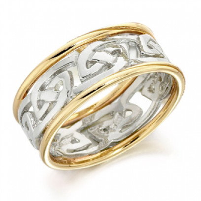 9ct Yellow and White Gold Ladies 6mm Ring with Celtic Style Centre and Plain Edges