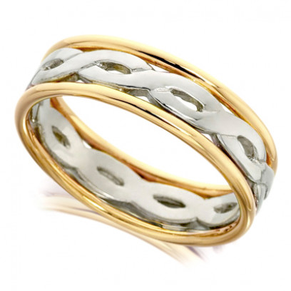 9ct Yellow and White Gold Gents 7mm Ring with Twisted Centre and Plain Edges
