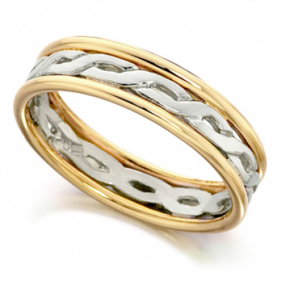 9ct Yellow and White Gold Ladies 5mm Ring with Twisted Centre and Plain Edges