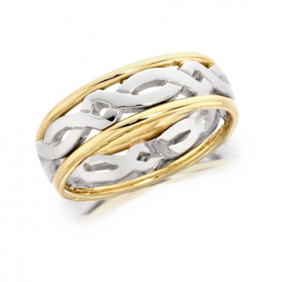9ct Yellow and White Gold Gents 7mm Ring with Celtic Twist Centre and Plain Edges