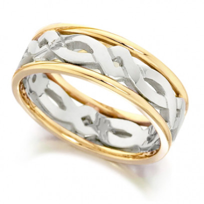 9ct Yellow and White Gold Ladies 5mm Ring with Celtic Twist Centre and Plain Edges