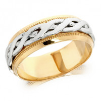 9ct Yellow and White Gold Gents 8mm Ring with Plaited Centre and Beaded Edges