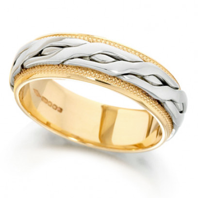 18ct Yellow and White Gold Ladies 6mm Ring with Plaited Centre and Beaded Edges