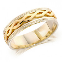 9ct Yellow and White Gold Gents 6mm Ring with Twisted Centre and Beaded Edges