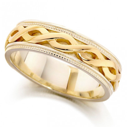 9ct Yellow and White Gold Ladies 5mm Ring with Twisted Centre and Beaded Edges