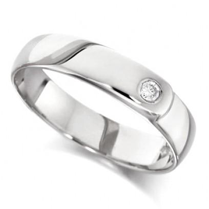 9ct White Gold Ladies 4mm Wedding Ring Set with Single 4pt Diamond