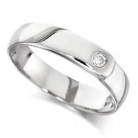 18ct White Gold Ladies 4mm Wedding Ring Set with Single 4pt Diamond