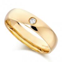 18ct Yellow Gold Gents Plain 5mm Wedding Ring Set with Single 5pt Diamond