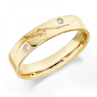 9ct Yellow Gold Gents 5mm Wedding Ring with Frosted S-Shape Pattern and Set with 2 Diamonds, Total Weight 4pts