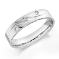 9ct White Gold Gents 5mm Wedding Ring with Frosted S-Shape Pattern and Set with 2 Diamonds, Total Weight 4pts