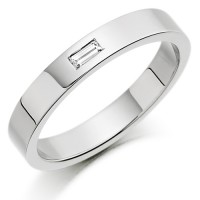 Platinum Ladies 3mm Wedding Ring with Single Baguette Diamond Weighing 3pts