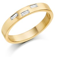 9ct Yellow Gold Wedding Ring Ladies 3mm with 3 Baguette Diamonds, Weighing a Total of 10pts. Gold Wedding Rings.