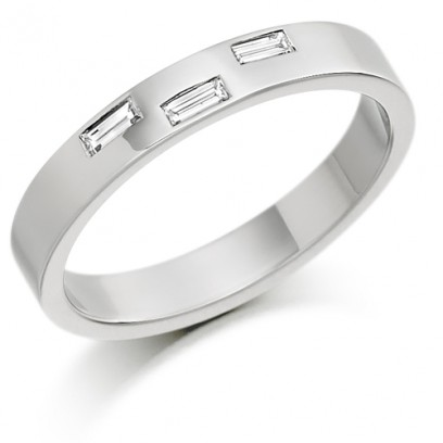 9ct White Gold Ladies 3mm Wedding Ring with 3 Baguette Diamonds, Weighing a Total of 10pts