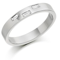 Platinum Ladies 3mm Wedding Ring with 3 Baguette Diamonds, Weighing a Total of 10pts