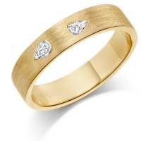 9ct Yellow Gold Ladies 4mm Wedding Ring Set with 2 Pear Shape Diamonds, Weighing a Total of 16pts