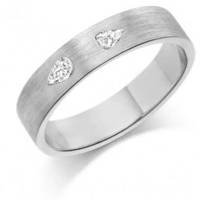 9ct White Gold Ladies 4mm Wedding Ring Set with 2 Pear Shape Diamonds, Weighing a Total of 16pts