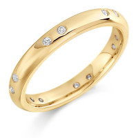 18ct Yellow Gold Ladies 3mm Wedding Ring with Pairs of Diamonds Evenly Spaced All Around, Total Weight 12pts