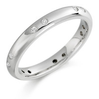 Platinum Ladies 3mm Wedding Ring with Pairs of Diamonds Evenly Spaced All Around, Total Weight 12pts