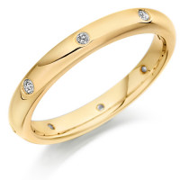 9ct Yellow Gold Ladies 3mm Wedding Ring with Diamonds Evenly Spaced All Around, Total Weight 10pts