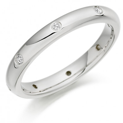 9ct White Gold Ladies 3mm Wedding Ring with Diamonds Evenly Spaced All Around, Total Weight 10pts