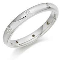 Platinum Ladies 3mm Wedding Ring with Diamonds Evenly Spaced All Around, Total Weight 10pts