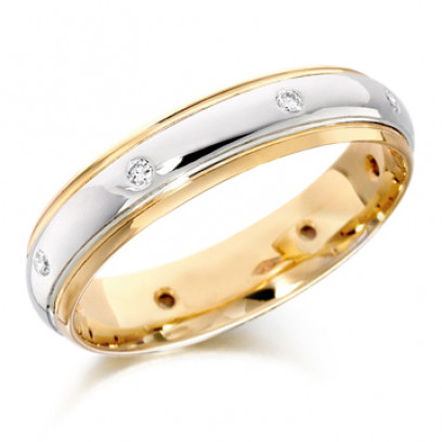 9ct Yellow and White Gold Gents 5mm Wedding Ring with Diamonds Set Evenly Spaced All Around, Total Weight 12pts