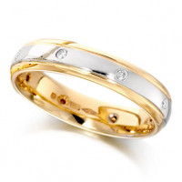 9ct Yellow and White Gold Ladies 4mm Wedding Ring with Diamonds Set Evenly Spaced All Around, Total Weight 8pts
