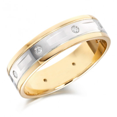 18ct Yellow and White Gold Gents 6mm Wedding Ring with Alternate Diamond and Flat Cuts All Around, Total Diamond Weight 12pts