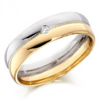 9ct Yellow and White Gold Gents 6mm Wedding Ring with Beaded Centre and Set with Single 4pt Round Diamond