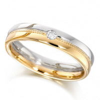 9ct Yellow and White Gold Ladies 4mm Wedding Ring with Beaded Centre and Set with a Single 4pt Round Diamond