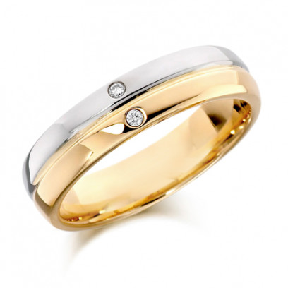 9ct Yellow and White Gold Gents 6mm Wedding Ring with Grooved Centre and Set with 2 Diamonds, Total Weight 3pts