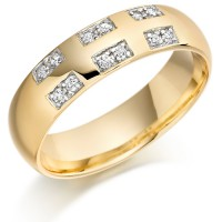 18ct Yellow Gold Gents 6mm Wedding Ring Set with 18pts of Diamonds in Rectangular Pattern