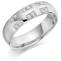 18ct White Gold Gents 6mm Wedding Ring Set with 18pts of Diamonds in Rectangular Pattern