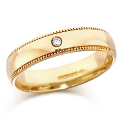 9ct Yellow Gold Gents 5mm Wedding Ring Set with Single 3pt Diamond and with Beaded Edges