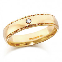18ct Yellow Gold Gents 5mm Wedding Ring Set with Single 3pt Diamond and with Beaded Edges