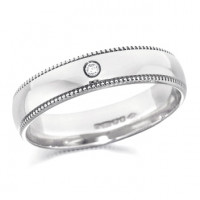 18ct White Gold Gents 5mm Wedding Ring Set with Single 3pt Diamond and with Beaded Edges