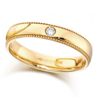 9ct Yellow Gold Ladies 4mm Wedding Ring Set with Single 2pt Diamond and with Beaded Edges
